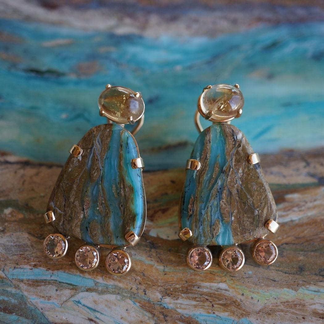 Golden Blue Earrings